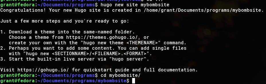 Hugo new site command